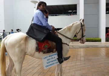 ट्राफिकको झोँकमा घोडा सवारी